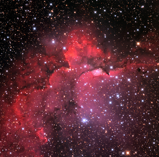NGC7380 open star cluster and core of the Wizard nebula, also known as Sh2-142.  32 inch Schulman telescope with STX camera on Mt. Lemmon, AZ.  Data capture and reduction by Adam Block, University of Arizona.  LRGB processing by JDS using CCDStack and Photoshop CS6.