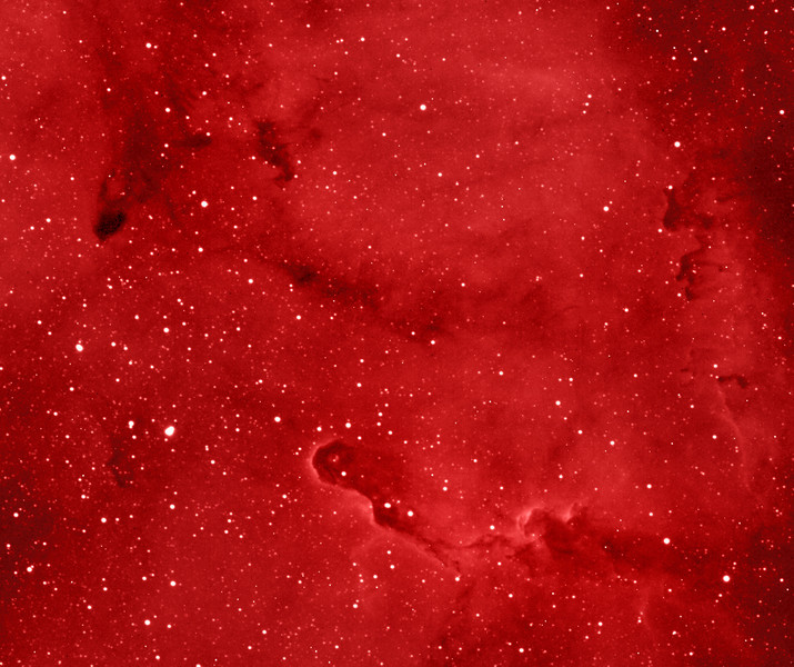 IC1396, Elephant Trunk nebula in H-alpha, detail, in synthetic color approximating natural color