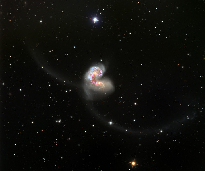 NGC 4038, The Antennae, colliding galaxies.  STX camera on the 32 inch Schulman telescope on Mt. Lemmon, AZ.  Data capture by Adam Block, University of Arizona.  Processing by JDS using CCDStack, Photoshop CS5, and Noise Ninja.