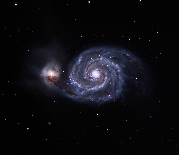 M51 galaxy complex.  32 inch Schulman telescope with STX camera on Mt. Lemmon, AZ.  Approximately 8 hours of time exposure. Data capture by Adam Block, University of Arizona. LLRGB processing by JDS using CCDStack and Photoshop CS5.