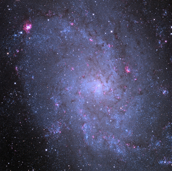 Messier 33 (M33), the Pinwheel Galaxy, core.  Spiral galaxy imaged using the 32 inch Schulman telescope with STX camera on Mt. Lemmon, AZ.  Data capture and reduction by Adam Block, University of Arizona.  LRGB processing by JDS using CCDStack and Photoshop CS6.  In remembrance of Penny Eaton.