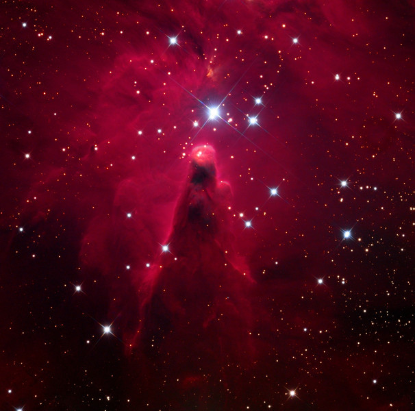 Cone Nebula.  32 inch Schulman telescope with STX camera on Mt. Lemmon, AZ.  Original gray scale data: luminance, H-alpha, red, green, and blue.  Data collection by Adam Block, University of Arizona. Processing by JDS using CCDStack and Photoshop CS5.