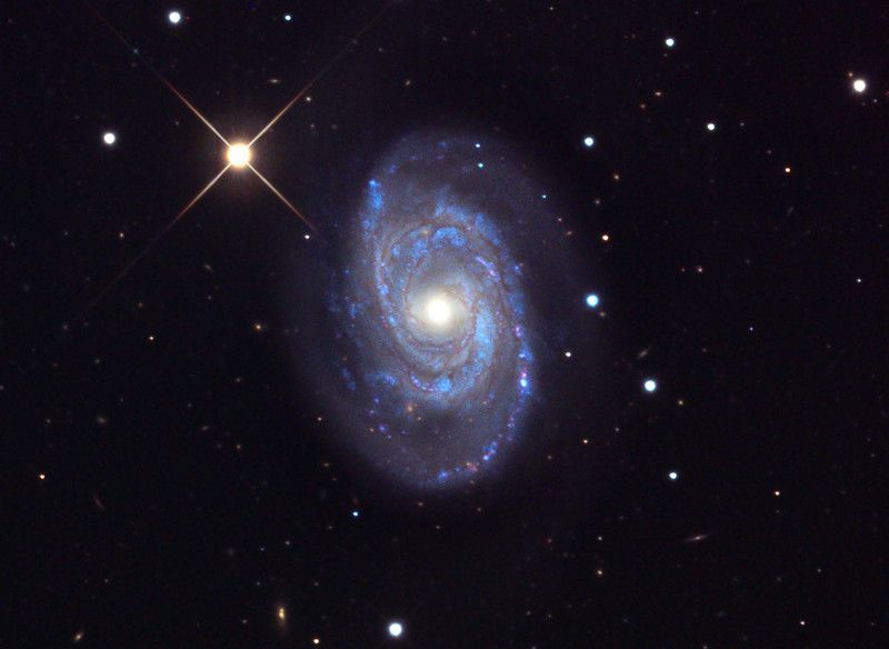 "Spiral galaxy NGC 5371. Mt. Lemmon 24 inch R-C + 11000M, ""first light."" L = 120 min (1x1), RGB 20 min each (2x2). Original frames by Adam Block (U. of Arizona), image processing by JDS, no deconvolution. Galaxy apparent size = 4.2 x 3.4 arc minutes.  In memory of John D. Crawford."