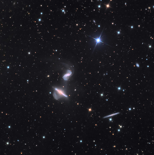 NGC 6285 and 6286 (Arp 293) interacting galaxies with visible superwind.  32 inch Schulman telescope with STX camera on Mt. Lemmon, AZ.  Data capture and reduction by Adam Block, University of Arizona.  LRGB processing by JDS using CCDStack, Photoshop CS6, and Noise Ninja.  Total exposure time 20 hours.