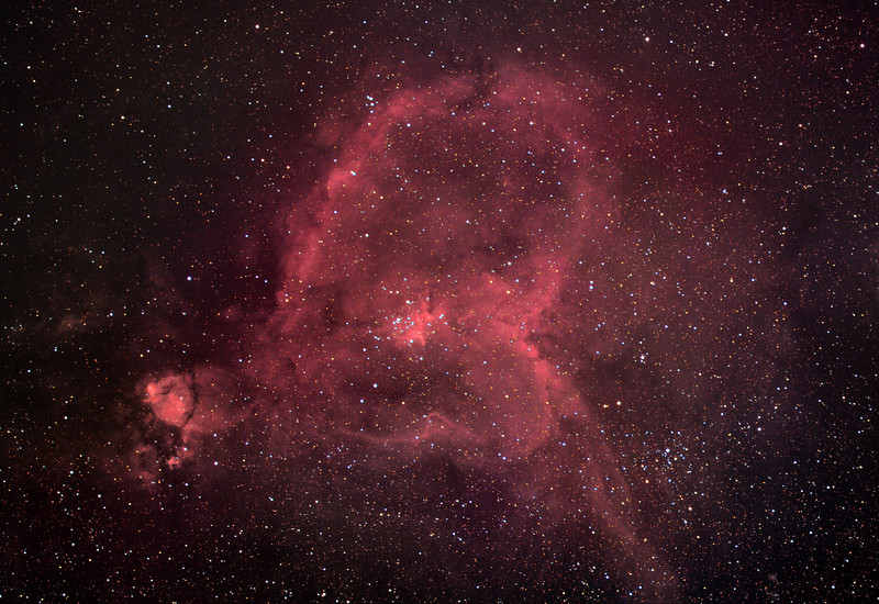 IC1805, Heart nebula, color with H-alpha blending