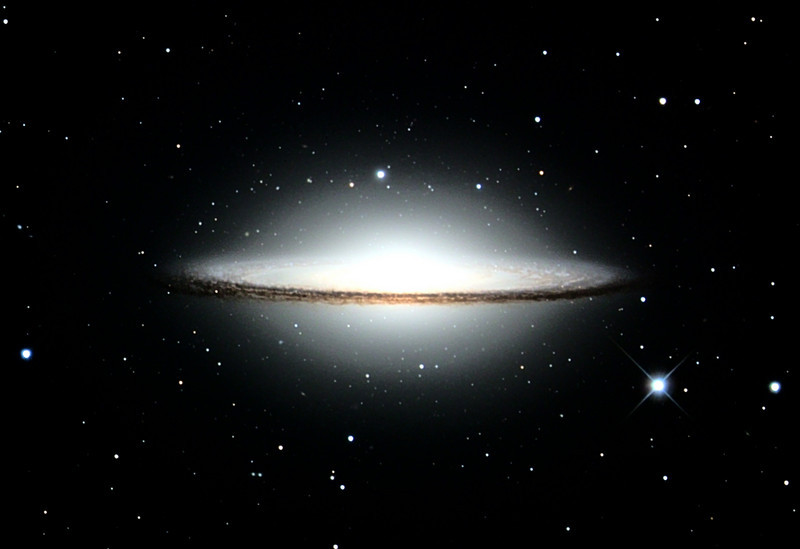 Messier 104, Sombrero galaxy, Mt. Lemmon 24 inch R-C, original gray-scale image capture by Adam Block, processing by JDS