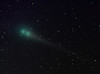 Comet Lulin, C/2007 N3.  Cropped rotated LLRGB image from preceding wide field view from Palm Springs, CA.  The composite of 48 separate 30 second exposures taken over 63 minutes reveals the rapid movement of the comet, estimated as 140,000 mph relative to Earth at a distance of 38 million miles.