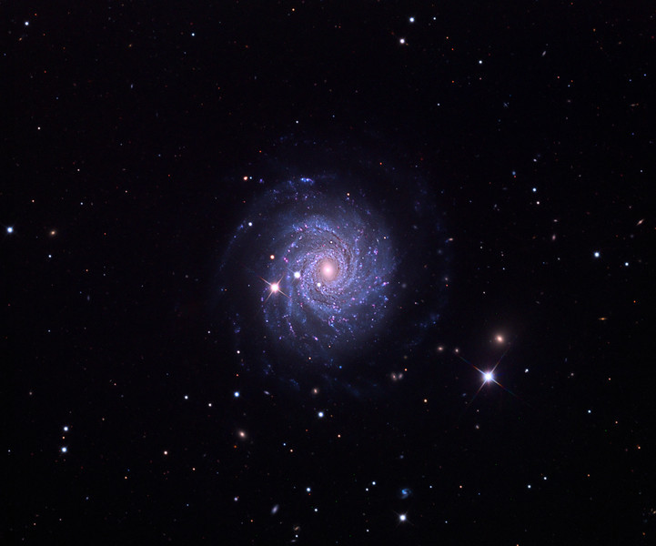 NGC3344 spiral galaxy.  32 inch Schulman telescope with STX camera on Mt. Lemmon, AZ.  Data capture and reduction by Adam Block, University of Arizona.  RGB processing by JDS using CCDStack and Photoshop CS5.