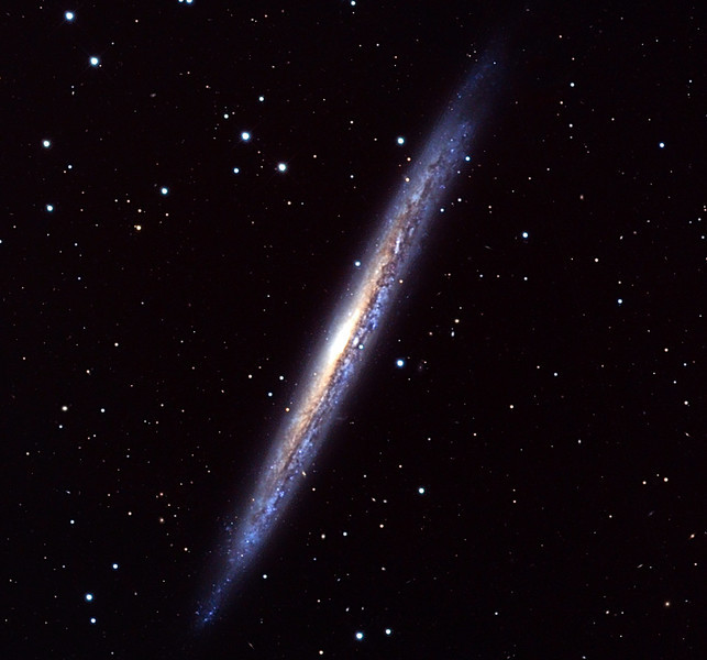 Spiral galaxy NGC 5907 (aka Knife Edge or Splinter galaxy), 24 inch Mt. Lemmon telescope, LLRGB, original frames by Adam Block, image processing by JDS