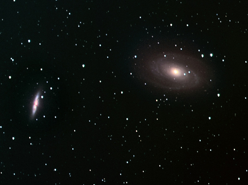 M81 (right) and M82 (left) in Ursa Major, LR(=Ha+R)GB