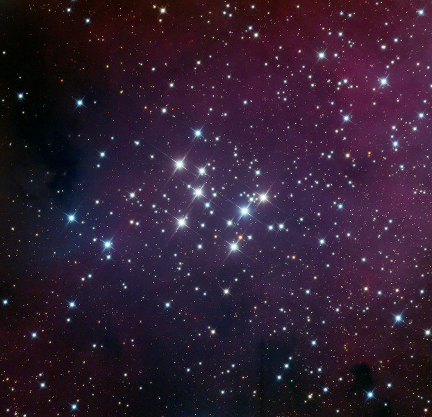 Messier 29 (M29) open star cluster with nebulosity.  32 inch Schulman telescope with STX camera on Mt. Lemmon, AZ.  Data capture and reduction by Adam Block, University of Arizona.  RGB processing by JDS using CCDStack and Photoshop CS6.