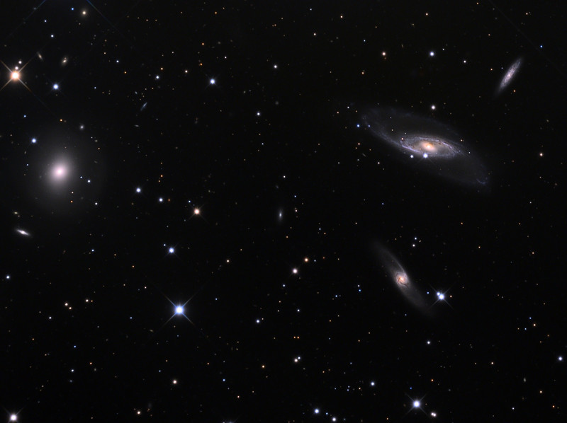 Hickson Compact Group 10 (HCG10).  Lenticular galaxy NGC529 (left), spiral galaxies NGC542 (upper right), NGC536 (middle right), and NGC531 (lower right), and some remoter galaxies.  32 inch Schulman telescope with STX camera on Mt. Lemmon, AZ.  Data capture and reduction by Adam Block, University of Arizona.  LRGB processing by JDS using CCDStack and Photoshop CS5.