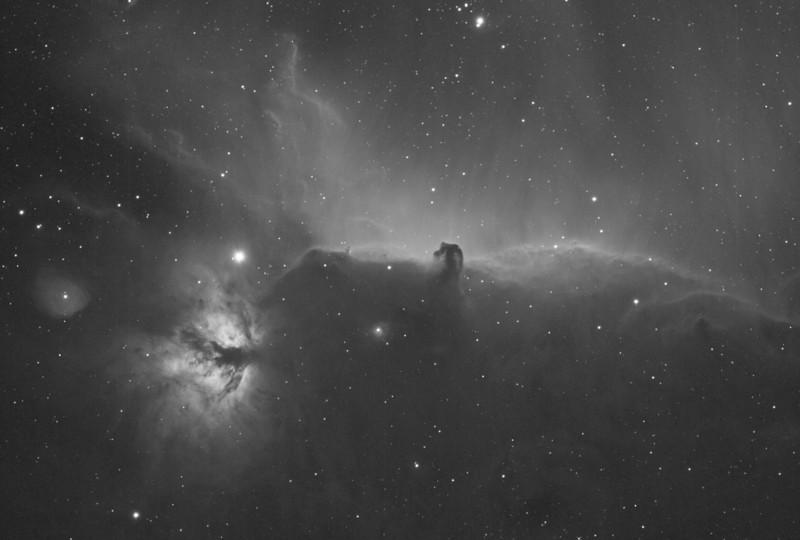Horsehead and Flame nebula region in H-alpha