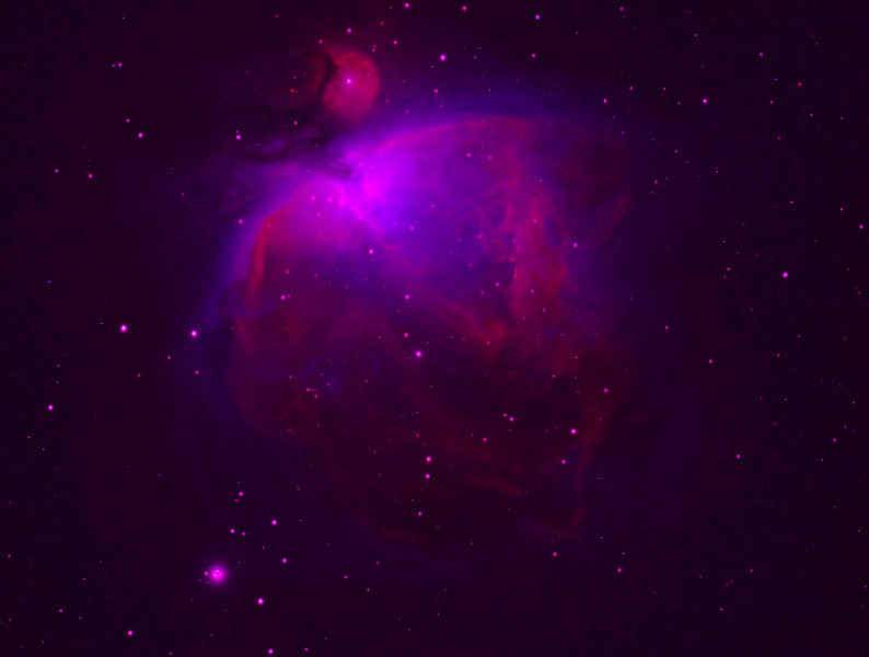 Messier 42, Great Orion nebula, narrow band synthetic color revealing only sulphur II emission in red and oxygen III emission in blue. Hydrogen alpha (green channel) intentionally suppressed.