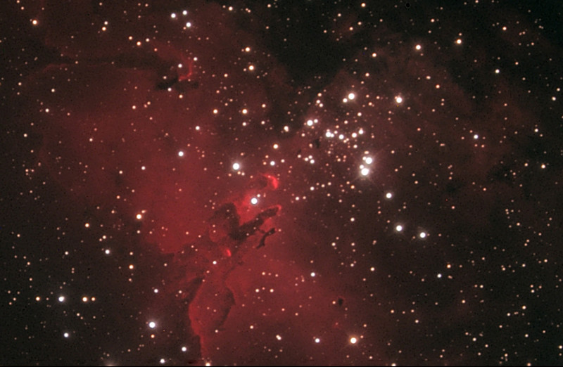 Messier 16, Eagle nebula, 12.5 inch R-C from Palm Springs.  Compare with later images from larger telescopes at high altitude.