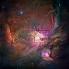 Hubble image of Messier 42, Great Orion nebula, with Trapezium region outlined