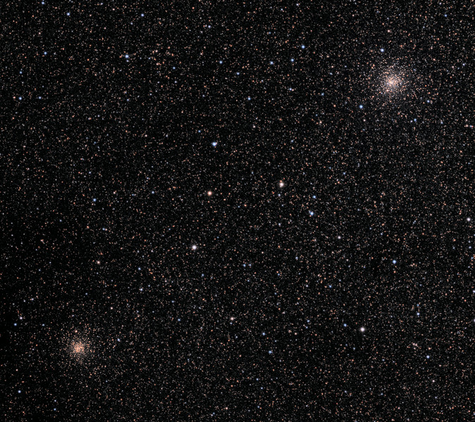 NGC6522 and NGC6528 globular clusters in the Milky Way.  32 inch Schulman telescope with STX camera on Mt. Lemmon, AZ.  Data capture and reduction by Adam Block, University of Arizona.  L(synthetic)RGB processing by JDS using CCDStack and Photoshop CS6.
