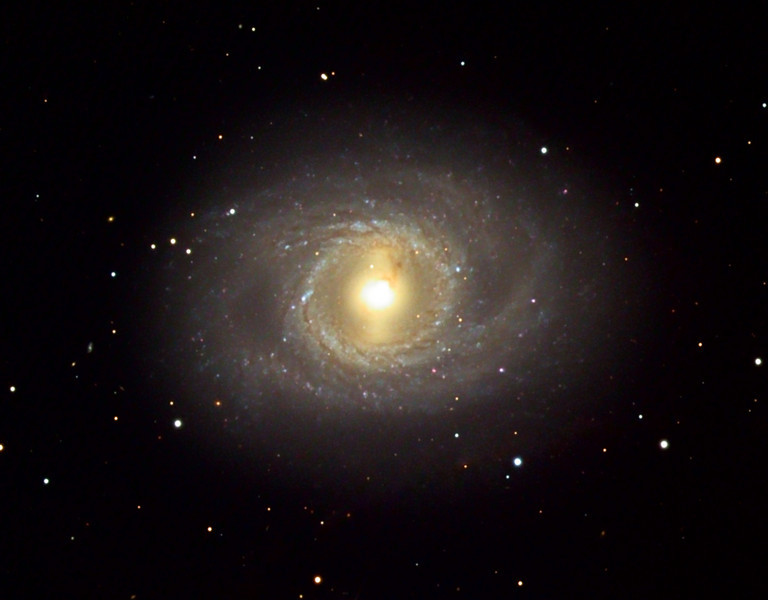 Messier 95, spiral galaxy in 2009.  Schulman Foundation 24 inch telescope on Mt. Lemmon, AZ.  Cropped and rotated from preceding.  Compare to next image in late March, 2012.