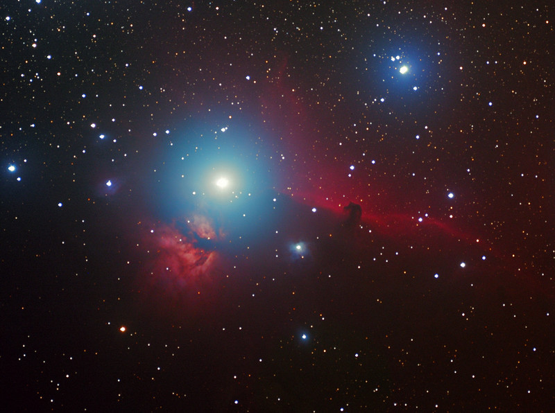 NGC 2024, Flame nebula, and Horsehead nebula region, brightest star Alnitak, magnitude 1.74.  In honor of Mary Stapleton.