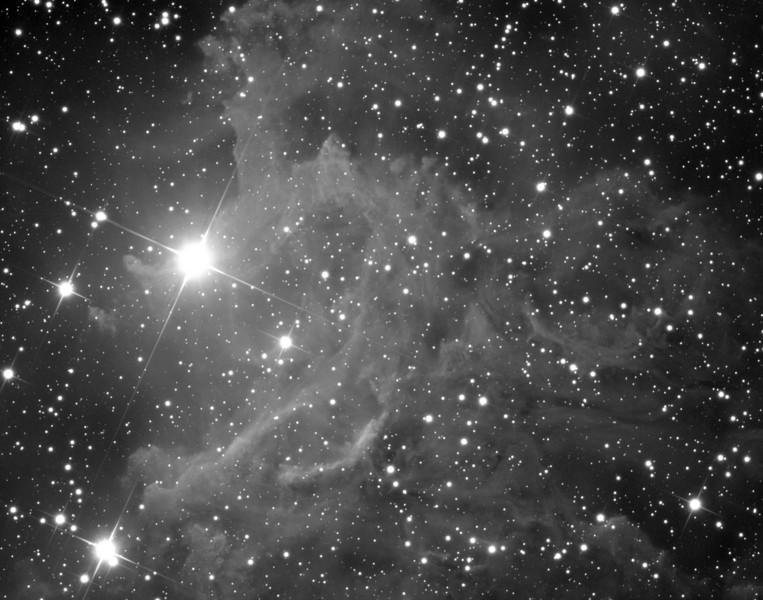 IC405 nebula in Auriga, luminance image.  Schulman Foundation 24 inch telescope on Mt. Lemmon, AZ.  Data frames courtesy of Adam Block, processing by JDS.