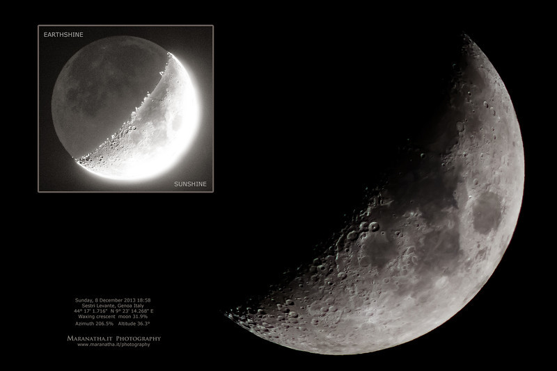"Sunday, 8 December 2013 18:58 Sestri Levante, Genoa Italy 44° 17' 1.716""  N 9° 23' 14.268"" E - Waxing crescent  moon 31.9% Azimuth 206.5%   Altitude 36.3°"