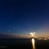 17/11/2013 – 06:21 Luna piena sopra il Monte di Portofino. Baia di Ponente, Sestri Levante, Liguria, Genoa Italy