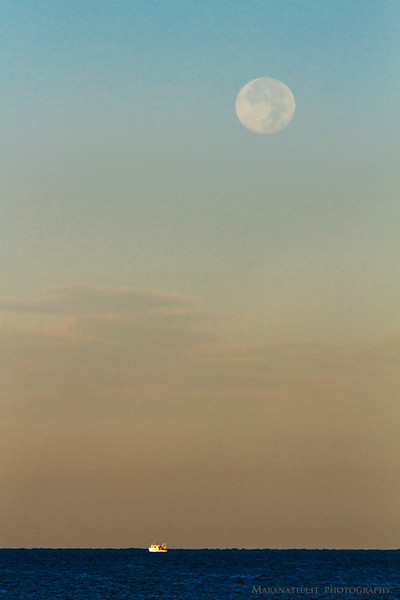 20/09/2013 – 07:41 Harvest moon set over the Ligurian sea, Sestri Levante, Liguria, Genoa Italy
