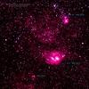28/09/2014 – 21:33 Nebula Laguna (M 8 – NGC 6523) e Nebula Trifida (M 20 – NGC 6514); distanza 5200 anni luce. Ammasso globulare (NGC 6544); distanza 15000 anni luce.