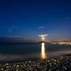 17/11/2013 – 06:23 Luna piena sopra il Monte di Portofino. Baia di Ponente, Sestri Levante, Liguria, Genoa Italy