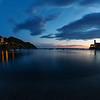 13/11/2013 – 17:20 La Baia di Levante e luna crescente al tramonto, Sestri Levante, Genoa Italy