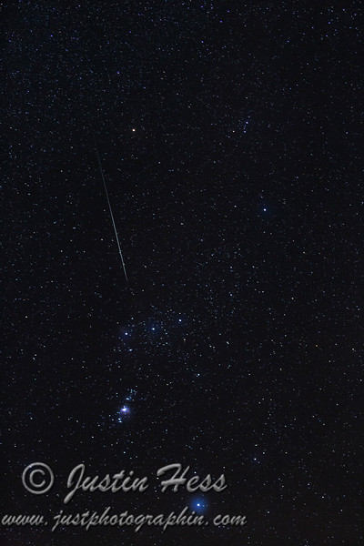 Geminid Meteor streak heading toward M42 (Orion Nebula)