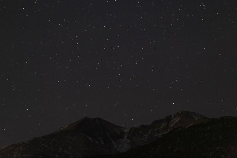 Geminids Over Longs Peak and Meeker