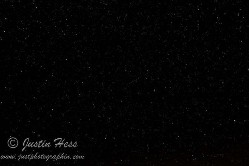 A Perseid meteor during the peak period on August 13th.