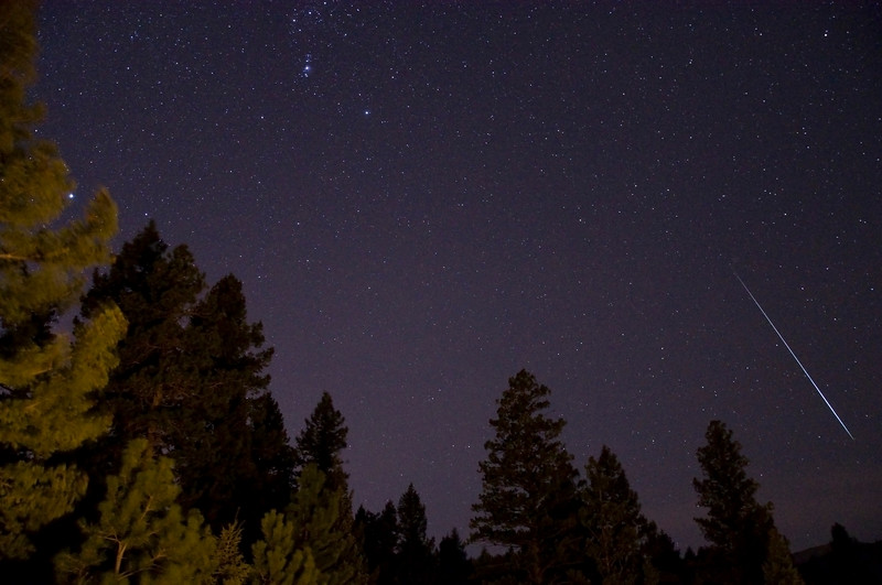 One frame from a timelapse shoot of the Geminid Meteor Shower in Colorado, December 2009.