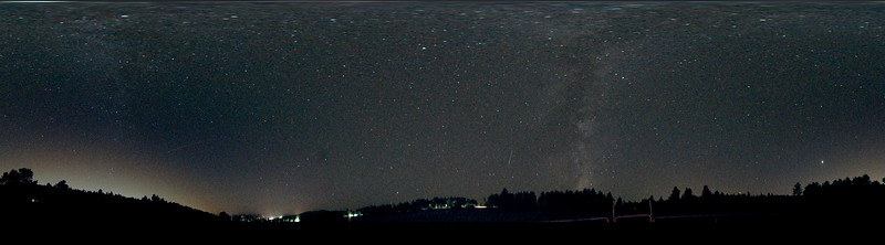 Taken during overnight timelapse of Perseids meteor shower, 2010.  Fisheye lens, showing Mikly Way.