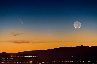 Comet PanSTARRS and a young Moon set over Albuquerque, NM March 12, 2013.