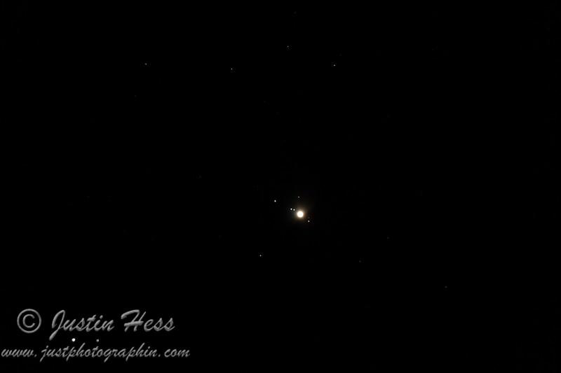 Jupiter and its moons.