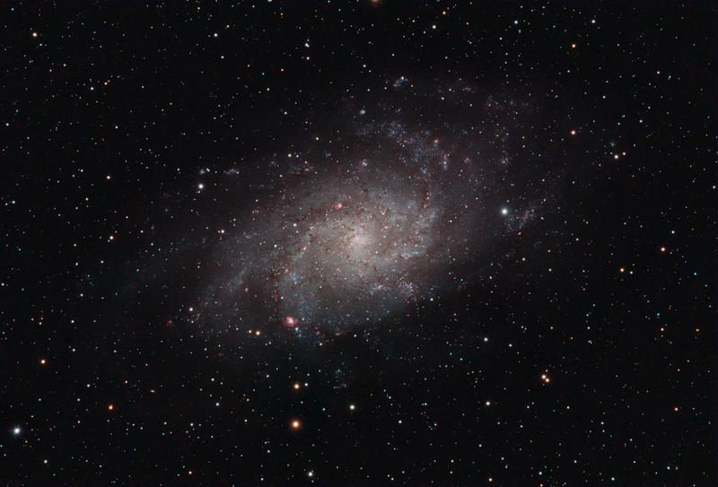 Target:  Triangulum Galaxy; M33 (NGC 598, spiral galaxy in Triangulum, apparent dimension 75x45 arcmin, magnitude 5.7)<br /> <br /> Distance from Earth:  3 million light-years<br /> <br /> Image FOV:  79 x 54 arcmin<br /> <br /> Date/Time: 10/31/08 2150 EDT to 11/01/08 0135 EDT and 11/02/08 2220 EST to 11/03/08 0318 EST<br /> <br /> Mount: Takahashi NJP Temma II<br /> <br /> Telescope: Takahashi TOA-130 refractor with Tak 0.98x flattener (f/7.5) and Hutech LPS filter<br /> <br /> Camera: Starlight Xpress SXVF-M25C ccd guided by SX Autoguider with Takahashi FS-60C refractor (f/5.9)<br /> <br /> Focus: Finger Lakes Instrumentation DF-2 focuser with FocusMax/MaxIm DL software<br /> <br /> Sky conditions:  On 10/31/08 transparency 3/5, seeing 2/5 and 11/02/08 transparency 2/5, seeing 2/5<br /> <br /> Moonset:  10/31/08 1936 EDT and 11/02/08 2020 EST<br /> <br /> Images: On 10/31/08 images captured with MaxIm DL 4.60 at an image scale of 1.64 arcsec/pixel; 16 light exposures, 600 sec duration; 1, 600 sec dark frame; 27, 1.0 sec flat_light frames; 27, 1.0 second flat_dark frame and 27, 0.1 sec bias frames; 15 frames were used for alignment and stacking<br /> <br /> On 11/02/08 images captured with MaxIm DL 4.60 at an image scale of 1.64 arcsec/pixel; 17 light exposures, 600 sec duration; 1, 600 sec dark frame; 27, 1.0 sec flat_light frames; 27, 1.0 second flat_dark frame and 27, 0.1 sec bias frames; 8 frames were used for alignment and stacking<br /> <br /> Processing: MaxIm DL 5.00, DeepSkyStacker 3.2.2, ImagesPlus 3.5 and Photoshop CS3 with Noise Ninja, GradientXTerminator and Astronomy Tools; pre-processing in MaxIm and DSS, data from 2 nights weighted and average combined in IP and post-processing in PS, image cropped and downsampled (revised 12/21/08)