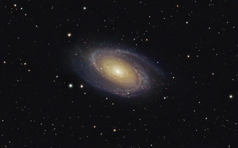Target: M81 (NGC 3031, Bode's Galaxy, spiral galaxy in Ursa Major, apparent dimension 21 x 10 arcmin, magnitude 6.9)<br /> <br /> Distance from Earth:  12 million light-years<br /> <br /> Image FOV: 48 x 30 arcmins (maximum FOV:  51 x 34 arcmins)<br /> <br /> Date/Time: 03/21/09 2222 EDT to 03/22/09 0533 EDT<br /> <br /> Mount: Takahashi NJP Temma II<br /> <br /> Telescope: Takahashi TOA-130 refractor with Tak flattener, Tak 1.6x extender (f/12.3) and Hutech LPS filter<br /> <br /> Camera: Starlight Xpress SXVF-M25C ccd guided by SX Autoguider with Takahashi FS-78 refractor with Optec 0.62 reducer (f/5.0)<br /> <br /> Focus: Finger Lakes Instrumentation DF-2 focuser with FocusMax/MaxIm DL software<br /> <br /> Sky conditions:  transparency 3/5, seeing 4/5<br /> <br /> Moonrise:  03/22/09 0518 EDT<br /> <br /> Images: Captured with MaxIm DL 4.60 at an image scale of 1.00 arcsec/pixel; 31 light exposures, 600 sec duration; 1, 600 sec dark frame; 27, 3.0 sec flat_light frames and 27, 0.1 sec bias frames; 25 frames were used for alignment and stacking<br /> <br /> Processing: MaxIm DL 5.00 and Photoshop CS3 with Noise Ninja, GradientXTerminator and Focus Magic; image cropped and downsampled (revised 05/10/09)