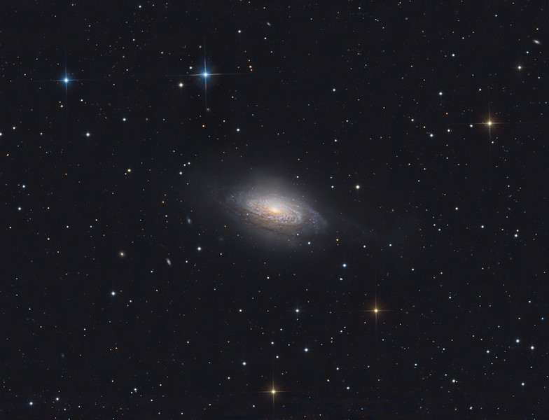 Target:  NGC 3521 (flocculent intermediate spiral galaxy in Leo)<br /> <br /> Distance from Earth:  26 million light-years<br /> <br /> Image FOV:  38 x 29 arcmins<br /> <br /> Telescope: PlaneWave CDK 20 (f/4.5)<br /> <br /> Camera: FLI ProLine PL6303E<br /> <br /> Images: Luminance data captured at an image scale of 0.81 arcsec/pixel (binned 1x1); RGB data captured at an image scale of 1.62 arcsec/pixel (binned 2x2); 79, 300 sec subexposures; 200 minutes (L) and 65 minutes each with (RGB) from Feb 3-23, 2017; total exposure time of 395 minutes<br /> <br /> Processing: MaxIm DL 6.12, CCDStack 1.3.2, Registar 1.0.9 and Photoshop CS3 with Noise Ninja, GradientXterminator and StarSpikes Pro; final image scale 0.81arcsec/pixel; image cropped