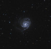 Target: M 101 (NGC 5457, Pinwheel Galaxy, spiral galaxy in Ursa Major)<br /> <br /> Distance from Earth:  27 million light-years<br /> <br /> Image FOV:  62 x 60 arcmins<br /> <br /> Telescope: Takahashi TOA-130 (f/6.0) <br /> <br /> Camera: Starlight Xpress SXVR-H16<br /> <br /> Images: Captured at an image scale of 1.96 arcsec/pixel (binned 1x1); 60, 180 sec subexposures with the lum filter and 109, 180 sec subexposures with the RGB filters; 108 minutes (R), 114 minutes (G), 105 minutes (B) and 180 minutes (L); total exposure time of 407 minutes on May 30, 31, Jun 1, 2, 3, 2011<br /> <br /> Processing: MaxIm DL 5.12 and Photoshop CS3 with GradientXTerminator, Noise Ninja and StarSpikes Pro; image cropped