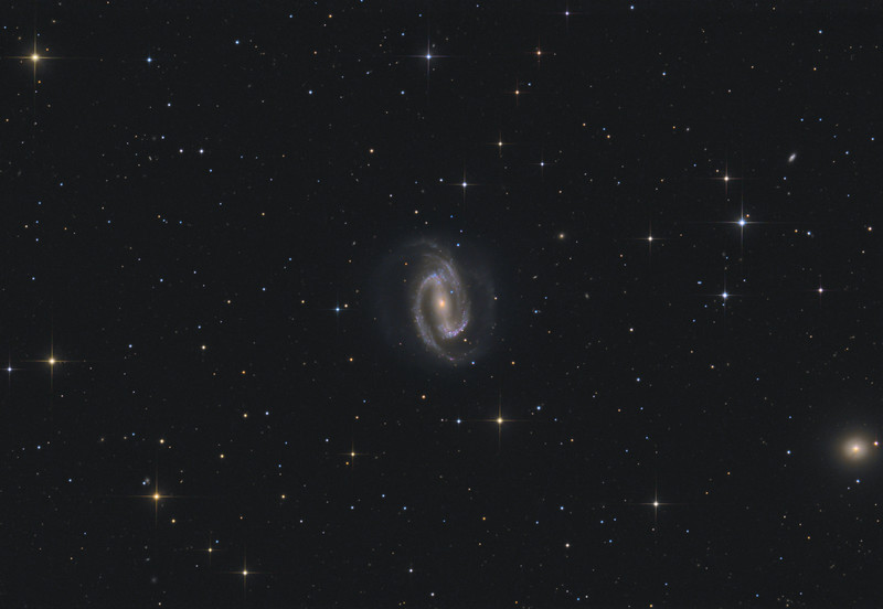 Target:  NGC 1300 (barred spiral galaxy in Eridanus)<br /> <br /> Distance from Earth:  61 million light-years<br /> <br /> Image FOV:  39 x 27 arcmins<br /> <br /> Telescope: PlaneWave CDK 20 (f/4.5)<br /> <br /> Camera: FLI ProLine PL6303E<br /> <br /> Images: Luminance data captured at an image scale of 0.81 arcsec/pixel (binned 1x1); RGB data captured at an image scale of 1.62 arcsec/pixel (binned 2x2); 81, 300 sec subexposures; 195 minutes (L), 70 minutes with each (RGB) on Oct 26-28, 2014; total exposure time of 405 minutes<br /> <br /> Processing: MaxIm DL 5.18, CCDStack 1.0.7, Registar and Photoshop CS3 with GradientXTerminator and StarSpikes Pro; final image scale 0.81arcsec/pixel; image cropped