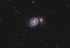 Target:  M 51 (NGC 5194, Whirlpool Galaxy, spiral galaxy) and NGC 5195 (irregular galaxy) in Canis Venatici<br /> <br /> Distance from Earth:  37 million light-years<br /> <br /> Image FOV:  46 x 31 arcmins<br /> <br /> Telescope: Takahashi TOA-130 (f/6.0) for Lum data and PlaneWave CDK 20 (f/4.5) for RGB data<br /> <br /> Camera: Starlight Xpress SXVR-H16 for Lum data and FLI ProLine PL6303E for RGB data<br /> <br /> Images: Lum data captured at an image scale of 1.96 arcsec/pixel (binned 1x1); RGB data captured at an image scale of 1.92 arcsec/pixel (binned 2x2); 180 sec Lum subexposures and 300 sec RGB subexposures; 462 minutes Lum  on Mar-May 2012; 45 minutes R, 55 minutes G and 40 min B on Mar 13, 14, 2013 for RGB data; total exposure time of 602 minutes<br /> <br /> Processing: MaxIm DL 5.18, CCDStack 1.0.7, Registar 1.0 and Photoshop CS3 with GradientXTerminator, Noise Ninja and StarSpikes Pro 2.0, final image scale 1.96 arcsec/pixel, image cropped