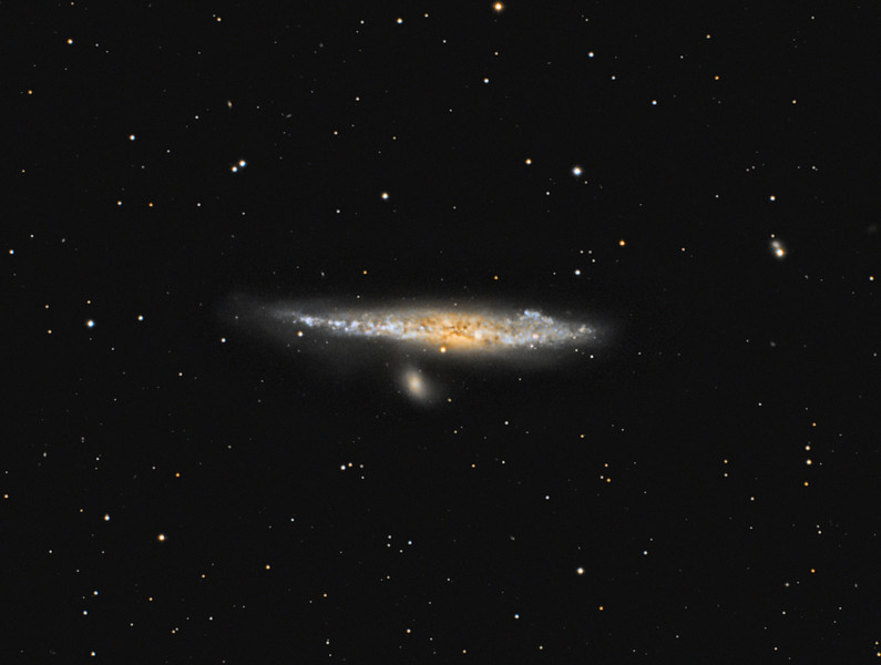 Target:  NGC 4631 (Whale Galaxy, spiral galaxy in Canis Venatici)<br /> <br /> Distance from Earth:  30 million light-years<br /> <br /> Image FOV:  34 x 26 arcmins<br /> <br /> Telescope: Takahashi TOA-130 refractor with Tak 0.78x reducer (f/6.0) and Hutech LPS filter<br /> <br /> Camera: Starlight Xpress SXVF-H9 ccd and SXVF-H9C ccd guided by SX Autoguider with Takahashi FS-60C refractor (f/5.9)<br /> <br /> Focus: Finger Lakes Instrumentation DF-2 focuser with FocusMax/MaxIm DL software<br /> <br /> Images: Captured with MaxIm DL 4.60 at an image scale of 1.69 arcsec/pixel; 190 minutes exposure with H9 ccd on Mar 18, 2010, 230 minutes exposure with H9C ccd on Apr 10, 2010, total exposure time of 420 minutes<br /> <br /> Processing: MaxIm DL 5.05 and Photoshop CS3 with Noise Ninja, GradientXTerminator & Astronomy Tools; luminance and color data processed individually in MaxIm and Photoshop and then combined in PS; image cropped