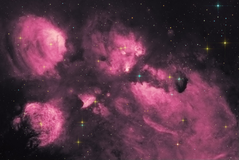 Target:  Cat's Paw Nebula; NGC 6334 (emission nebula in Scorpius)  in false-color narrowband (Ha) and RGB star substitution<br /> <br /> Distance from Earth:  5500 light-years<br /> <br /> Image FOV:  40 x 27 arcmin<br /> <br /> Telescope: PlaneWave CDK 20 (f/4.5)<br /> <br /> Camera: FLI ProLine PL6303E<br /> <br /> Images: Data captured at an image scale of 0.81 arcsec/pixel (binned 1x1); 25, 600 sec subexposures with the Ha filter (250 minutes) on Apr 21, 2016 and; 30, 60 sec subexposures with RGB filters; 10 minutes each on May 31, 2016; total exposure time of 280 minutes<br /> <br /> Processing: MaxIm DL 6.12, CCDStack 1.3.2, Registar 1.0.9 and Photoshop CS3 with GradientXterminator, Noise Ninja, Astronomy Tools and StarSpikes Pro; final image scale 0.81arcsec/pixel; image cropped