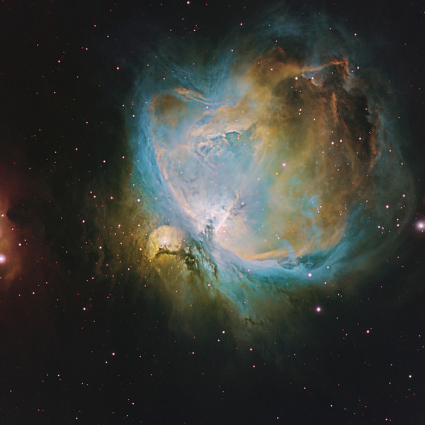 Target:  Orion Nebula; M42 (NGC 1976, emission nebula in Orion) and M43 (NGC 1982, emission nebula in Orion)  in tri-color narrowband (S2 + Ha + O3) using the Hubble palette<br /> <br /> Distance from Earth:  1600 light-years<br /> <br /> Image FOV: 64 x 64 arcmin<br /> <br /> Mount: Takahashi NJP Temma II<br /> <br /> Telescope: Takahashi TOA-130 refractor with TOA-130 0.78x reducer (f/6.0) and Astrodon 5nm S2 & Ha and 3nm O3 filters<br /> <br /> Camera: Starlight Xpress SXVR-H16 ccd guided by SX Lodestar Autoguider with Takahashi FS-60C refractor (f/5.9)<br /> <br /> Focus: Finger Lakes Instrumentation PDF focuser with FocusMax/MaxIm DL software<br /> <br /> Images: Captured with MaxIm DL 5.12 at an image scale of 1.96 arcsec/pixel; 214 minutes (S2), 84 minutes (Ha) and 136 minutes (O3); total exposure time of 434 minutes (118, 30 sec and 75, 300 sec subexposures) on Sep 14 and Nov 8, 9, 10, 2010<br /> <br /> Processing: MaxIm DL 5.12, RegiStar 1.0 and Photoshop CS3; S2, Ha and O3 images processed individually in MaxIm DL, aligned in RegiStar and opened in PS; S2, Ha and O3 data mapped to R, G and B channels and combined in PS to produce an RGB image; image cropped