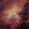 Target: M16 (NGC 6611, Eagle Nebula, star cluster associated with emission nebula in Serpens Cauda, apparent dimension 7.0 arcmin, magnitude 6.4) in bi-color narrowband (Ha + OIII)<br /> <br /> Distance from Earth:  7000 light-years<br /> <br /> Image FOV:  38 x 27 arcmins<br /> <br /> Mount: Takahashi NJP Temma II<br /> <br /> Telescope: Takahashi TOA-130 refractor with TOA-130 0.78x reducer (f/6.0) and Astronomik 12nm Ha filter and Astronomik 12nm OIII filter<br /> <br /> Camera: Starlight Xpress SXVF-H9 ccd guided by SX Autoguider with Takahashi FS-60C refractor (f/5.9)<br /> <br /> Focus: Finger Lakes Instrumentation DF-2 focuser with FocusMax/MaxIm DL software<br /> <br /> Images: Captured with MaxIm DL 4.60 at an image scale of 1.69 arcsec/pixel; 120 minutes (Ha data), 90 minutes (OIII), total exposure time of 210 minutes on Aug 16, 21, 2009<br /> <br /> Processing: MaxIm DL 5.05 and Photoshop CS3 with Neat Image; Ha and OIII images processed individually in MaxIm DL and copied into PS.  Ha and OIII data used to create synthetic green channel (sG); Ha + sG + OIII mapped to R, G and B channels that were combined in PS to produce final image; image cropped (revised 09/27/09)