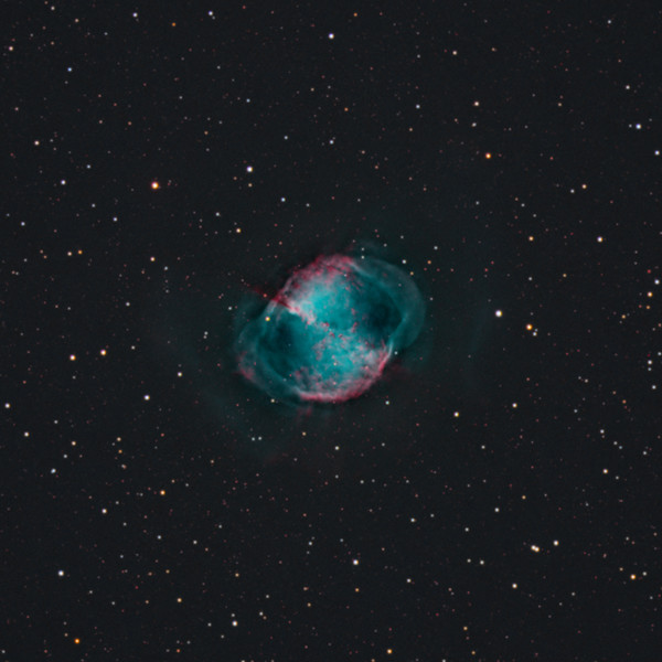 Target:  M27 (NGC 6853, Dumbbell Nebula, planetary nebula in Vulpecula) in bi-color narrowband (Ha + OIII + [OIII + 20% Ha]) and RGB wideband (for star color)<br /> <br /> Distance from Earth:  1250 light-years<br /> <br /> Image FOV:  27 x 27 arcmins<br /> <br /> Telescope: Takahashi TOA-130 (f/6.0) <br /> <br /> Camera: Starlight Xpress SXVR-H16<br /> <br /> Images: Data captured at an image scale of 1.96 arcsec/pixel (binned 1x1); 29, 120 sec wideband subexposures and 61, 300 sec narrowband subexposures; 155 minutes (OIII), 150 minutes (Ha), 18 minutes (R), 22 minutes (G) and 18 minutes (B) over 7 nights from July 6 through July 23, 2012; total exposure time of 363 minutes<br /> <br /> Processing: MaxIm DL 5.18, CCDStack 1.0.7, Registar 1.0 and Photoshop CS3, image cropped