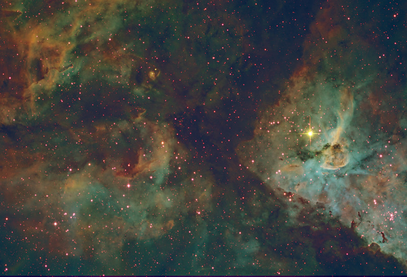 Target: NGC 3372 (Carina Nebula in Carina) in tri-color narrowband (SII + Ha + OIII), SHO mapped to RGB (Hubble Palette)<br /> <br /> Distance from Earth:  7,500 light-years<br /> <br /> Image FOV:  41 x 28 arcmin<br /> <br /> Telescope: PlaneWave CDK 20 (f/4.5)<br /> <br /> Camera: FLI ProLine PL6303E<br /> <br /> Images: Ha and OIII data captured at an image scale of 0.81 arcsec/pixel (binned 1x1); SII data captured at an image scale of 1.62 arcsec/pixel (binned 2x2); 27, 600 sec subexposures; 90 min (SII), 100 mins (Ha) and 80 mins OIII from Apr 4-7, 2017; total exposure time of 270 mins<br /> <br /> Processing: MaxIm DL 6.12, CCDStack 1.3.2, Registar 1.0.9 and Photoshop CS3 with StarSpike Pro; final image scale 0.81arcsec/pixel; image cropped