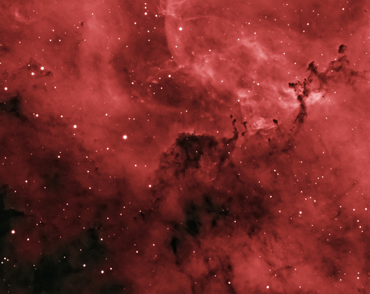 "NGC 2237 (Rosette Nebula, emission nebula in Monoceros) in false-color narrowband (Ha)<br /> <br /> Distance from Earth:  3600 light-years<br /> <br /> Image FOV:  29 x 23 arcmins<br /> <br /> Mount: Takahashi NJP Temma II<br /> <br /> Telescope: Takahashi TOA-130 refractor with TOA-130 0.78x reducer (f/6.0) and Astrodon 5nm Ha filter<br /> <br /> Camera: Starlight Xpress SXVF-H9 ccd guided by SX Autoguider with Takahashi FS-60C refractor (f/5.9)<br /> <br /> Focus: Finger Lakes Instrumentation DF-2 focuser with FocusMax/MaxIm DL software<br /> <br /> Images: Captured with MaxIm DL 4.60 at an image scale of 1.69 arcsec/pixel; total exposure time of 200 minutes on Nov 23, 2009<br /> <br /> Processing: MaxIm DL 5.05 and Photoshop CS3 with Noise Ninja and Astronomy Tools; Ha image processed in MaxIm DL and copied into PS, false color applied in PS with Astronomy Tools' ""B&W to Ha False Color Black Space"" action to produce final image; image cropped"